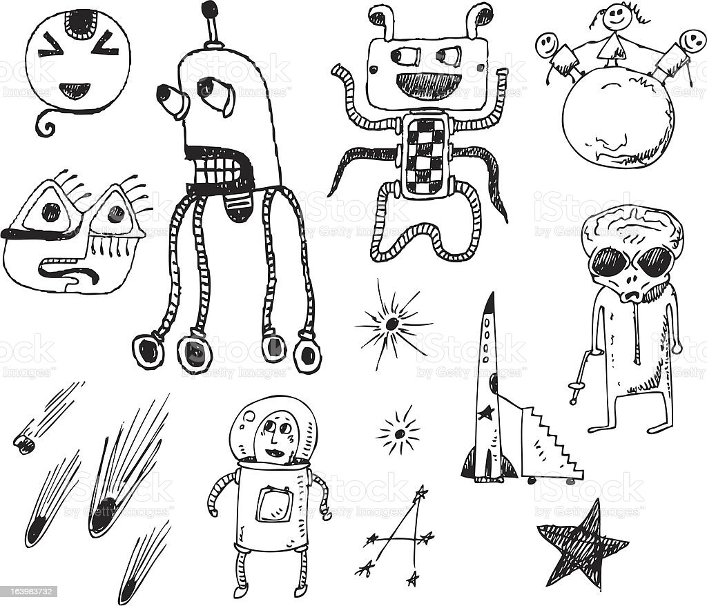 big vector set - robots and aliens royalty-free stock vector art