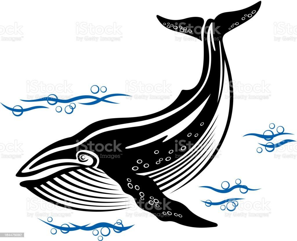 Big whale vector art illustration