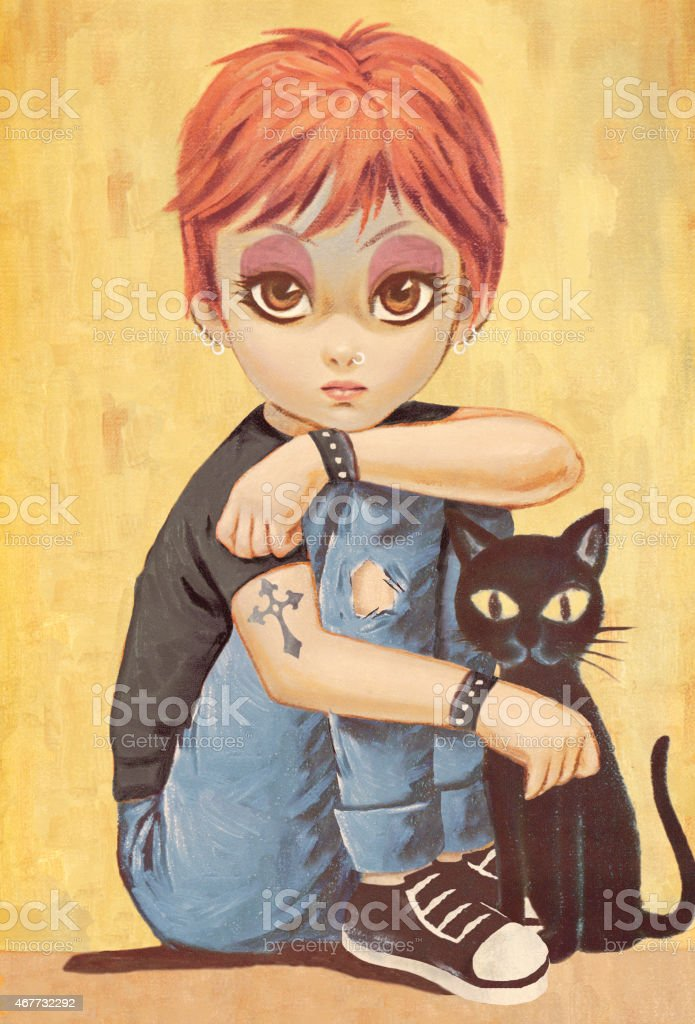 Big-eyed girl vector art illustration