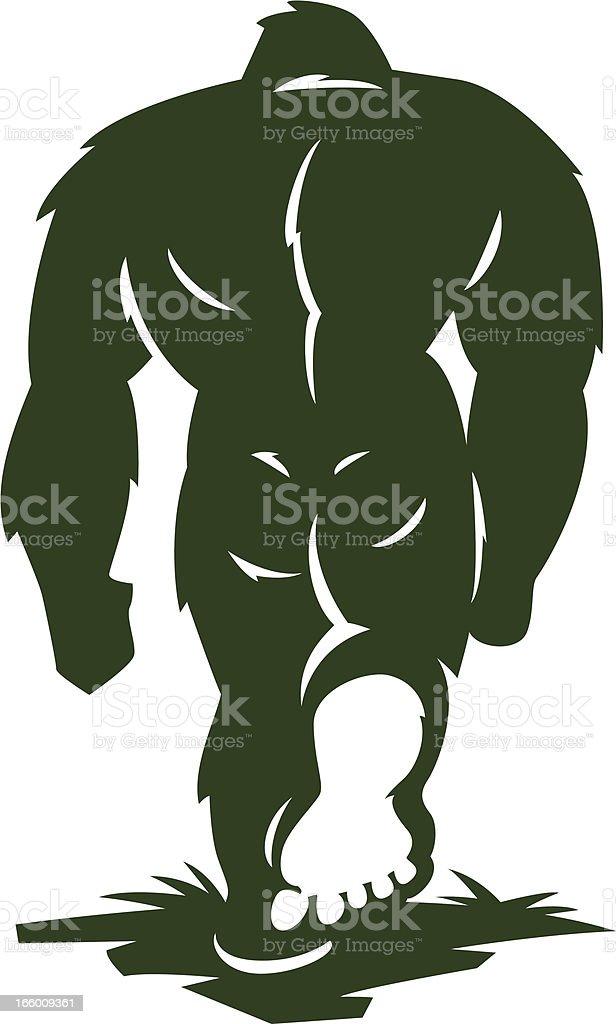bigfoot walking away vector art illustration