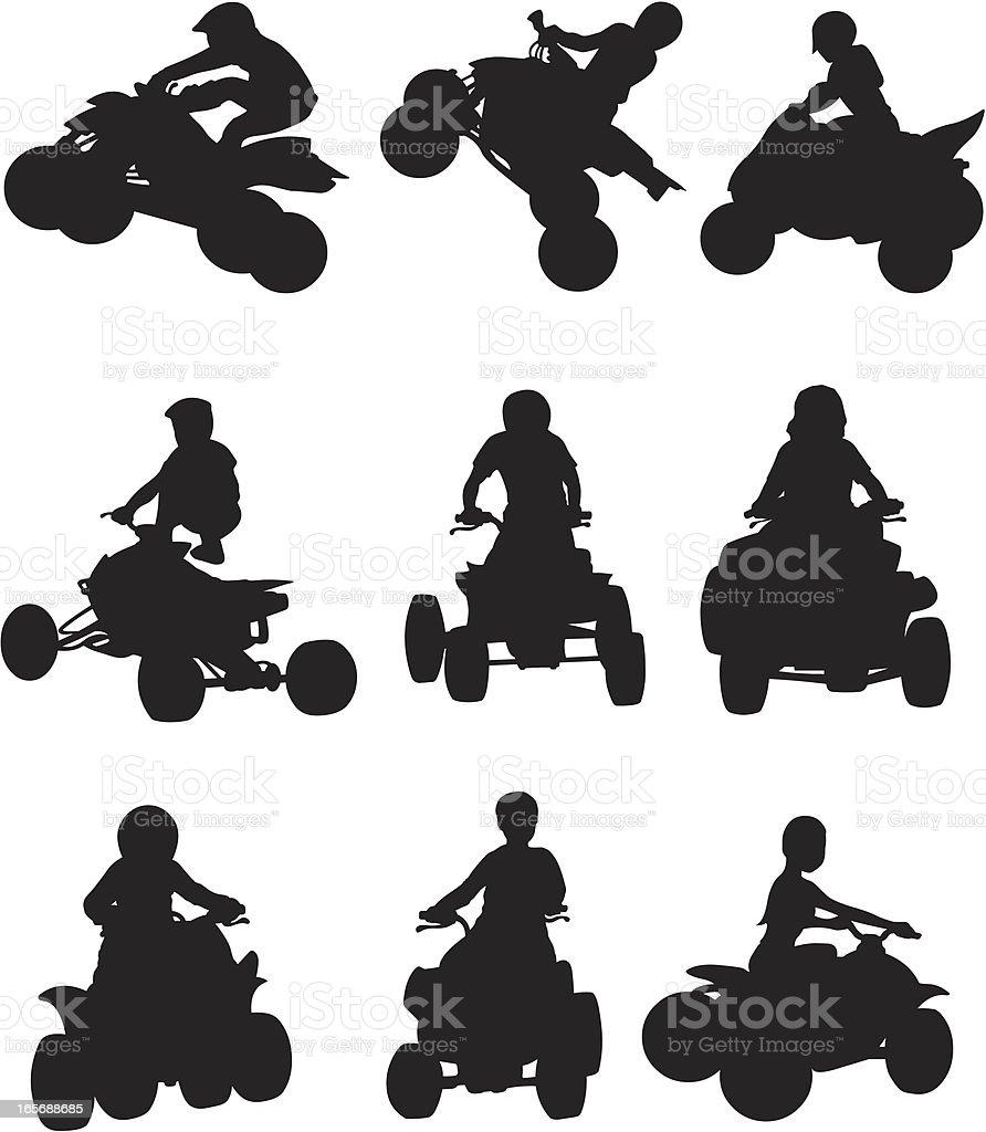 ATV biker in action vector art illustration
