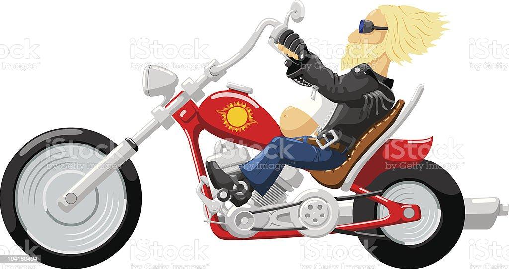 Biker on motorcycle royalty-free stock vector art