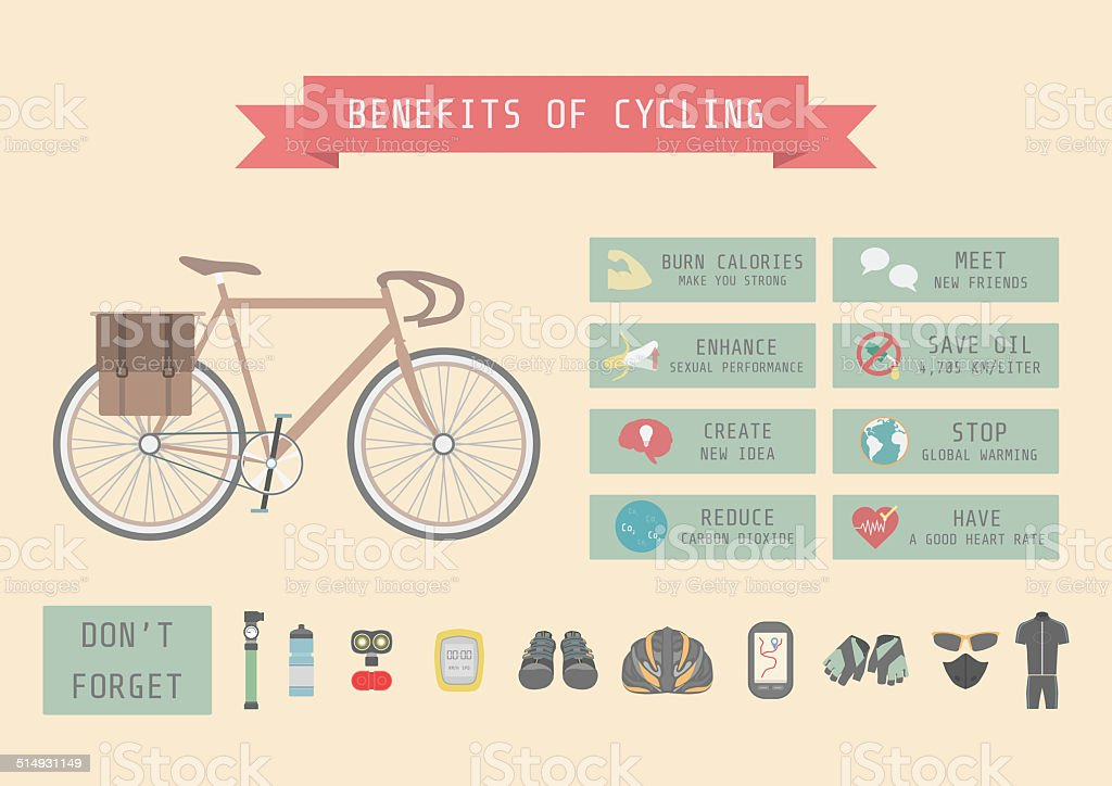 bike's benefit vector art illustration