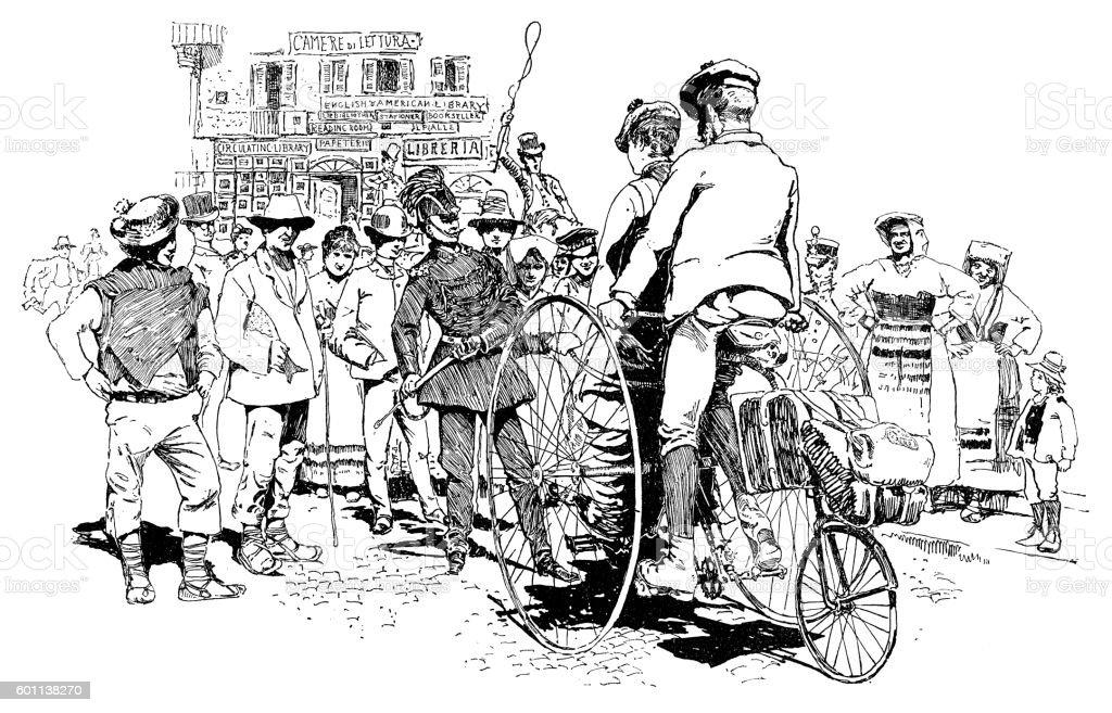Biking in Italy vector art illustration