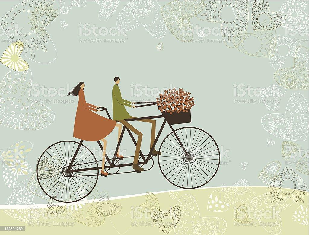 Biking lovers vector art illustration