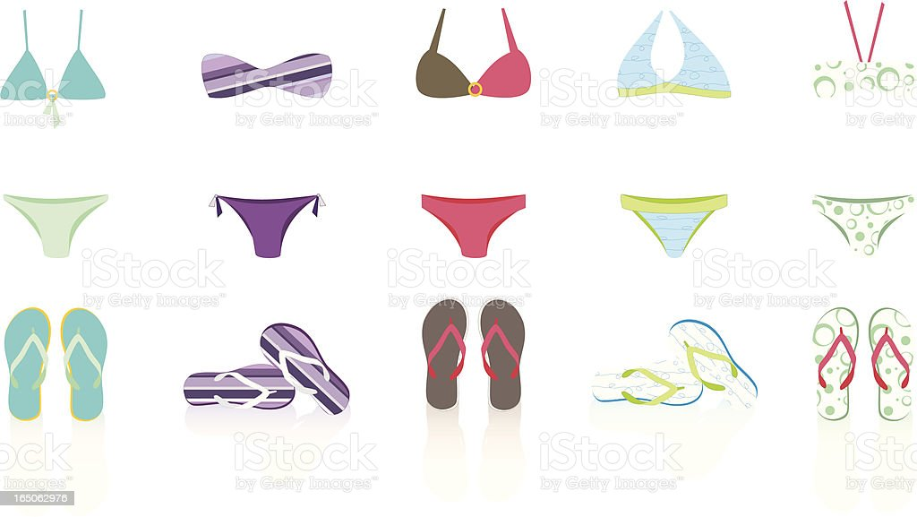 Bikini and flip-flop. Get yours!! royalty-free stock vector art