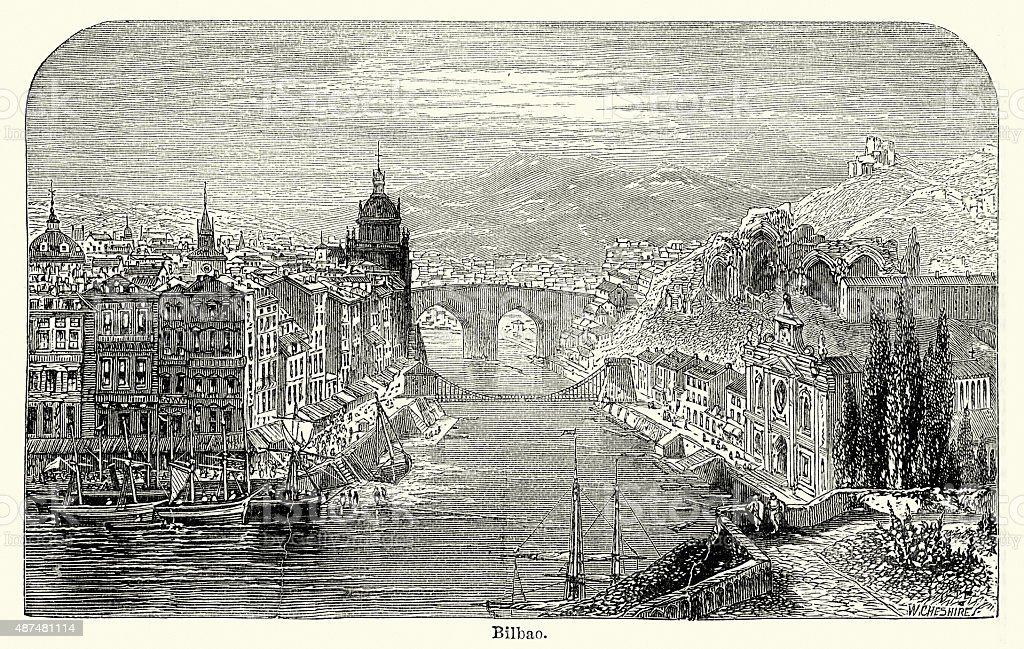 Bilbao in the 19th Century vector art illustration