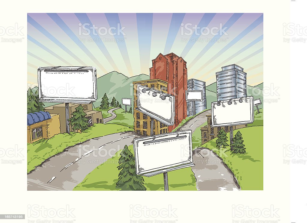 Billboards in a summer town royalty-free stock vector art