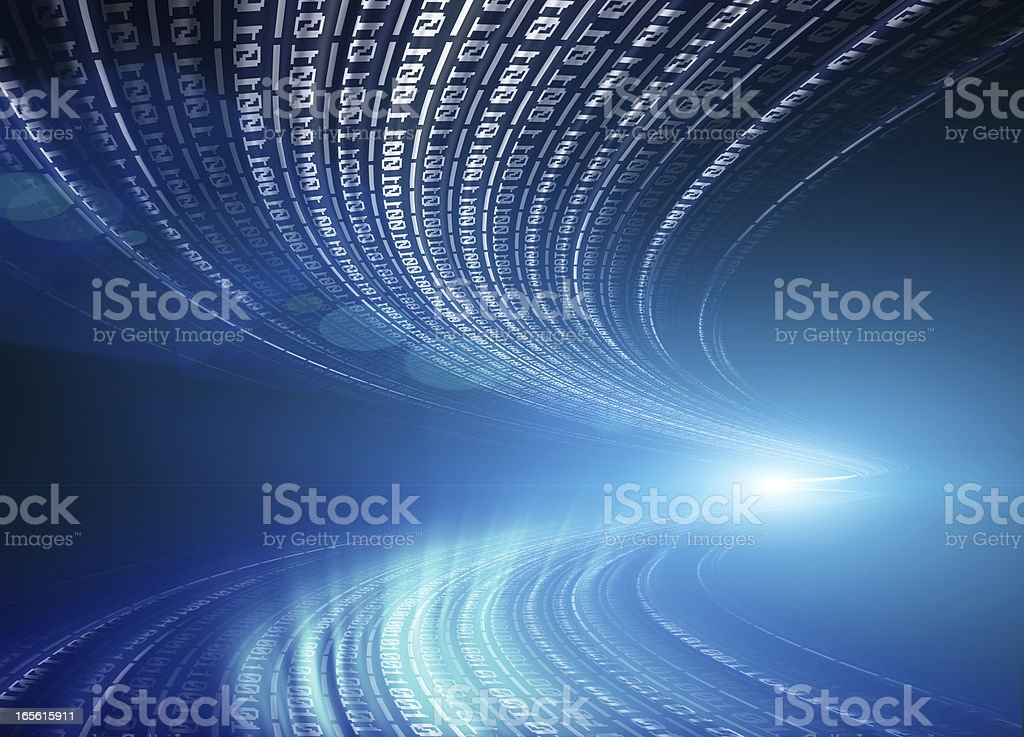 Binary code flowing through space vector art illustration