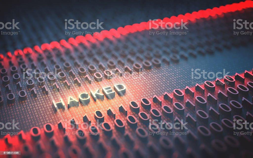 Binary Code Hacked vector art illustration
