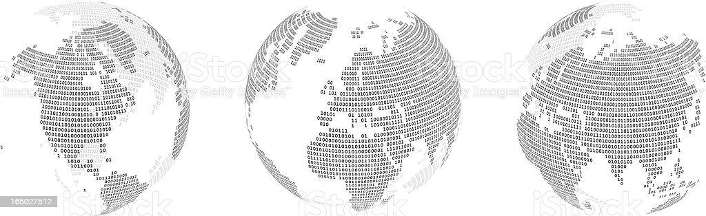 Binary World Globes ( vector ) royalty-free stock vector art
