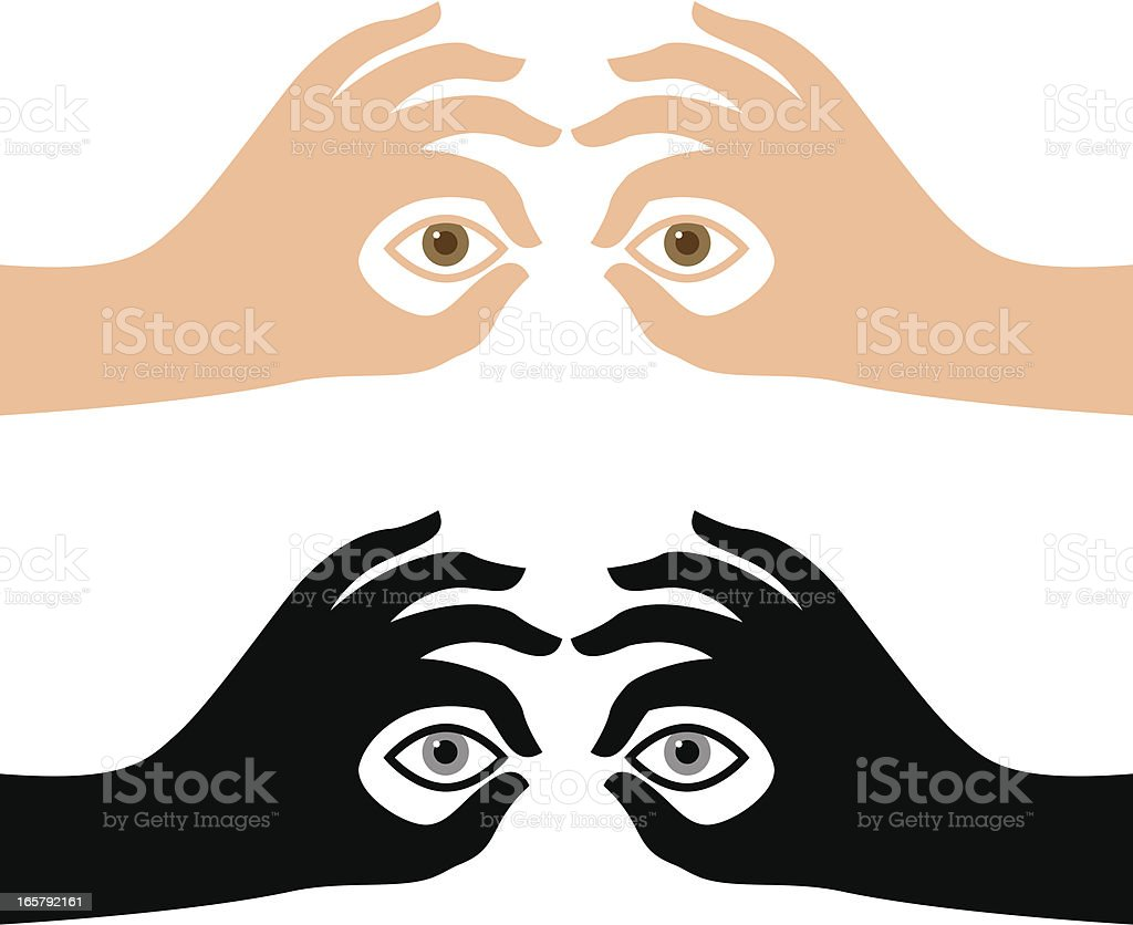 Binocular hands royalty-free stock vector art