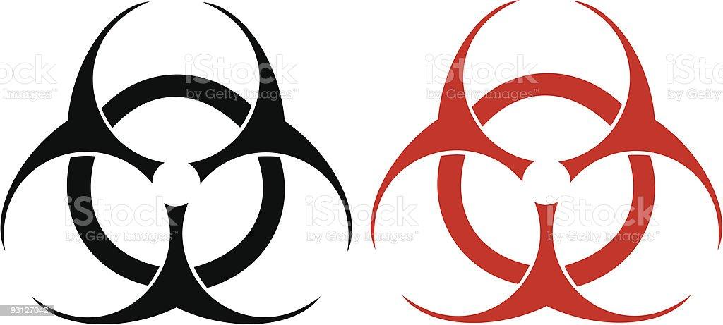 Biohazard Symbol Vector, Black and Red royalty-free stock vector art