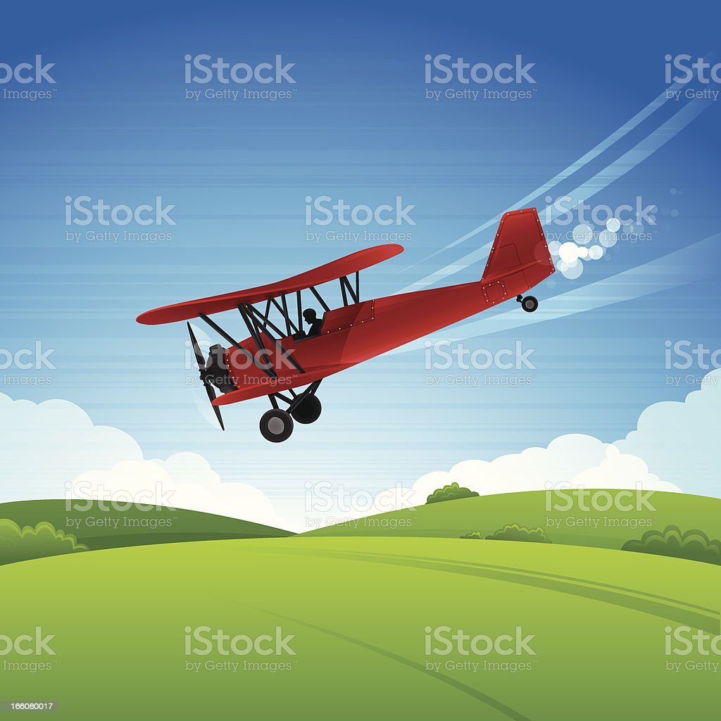 Biplane royalty-free stock vector art