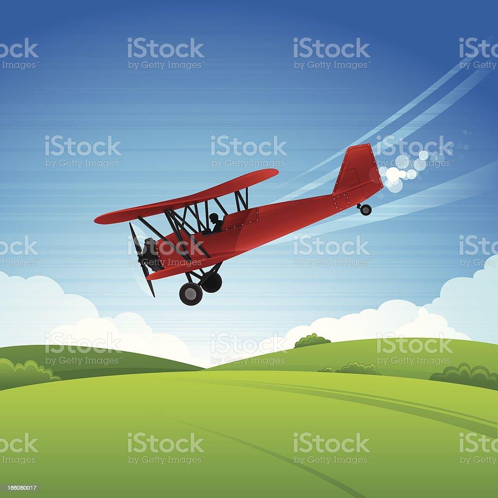 Biplane vector art illustration