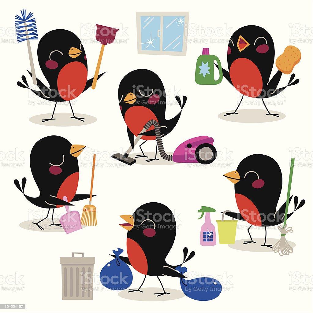 Bird Cleaning Service. vector art illustration