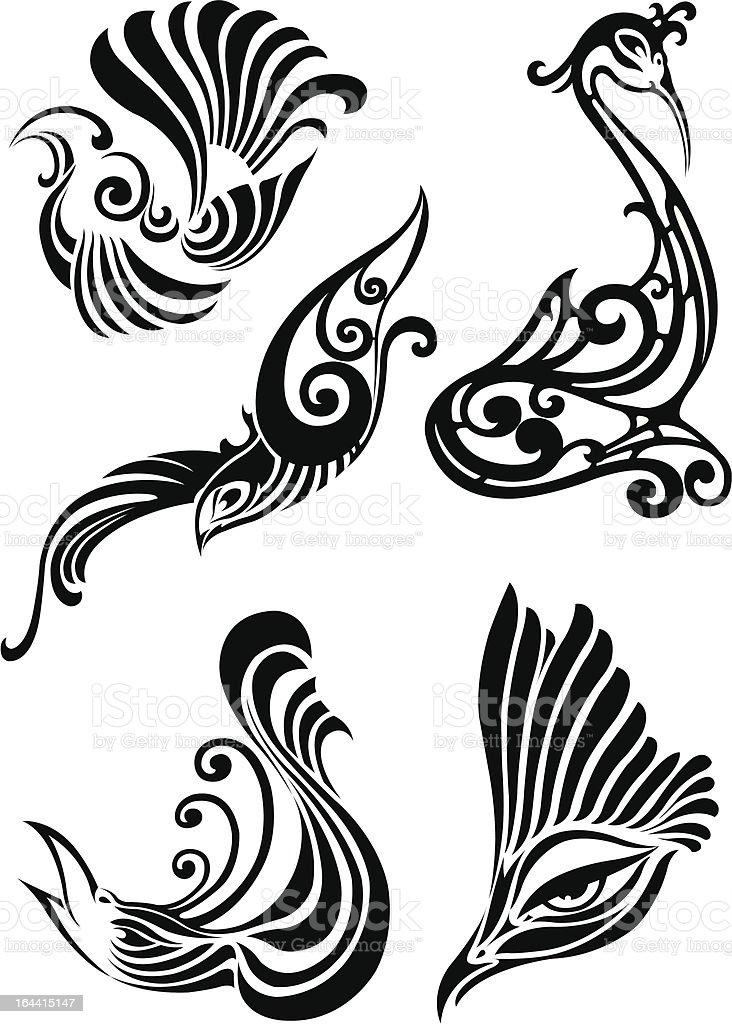 Bird decoration elements vector art illustration