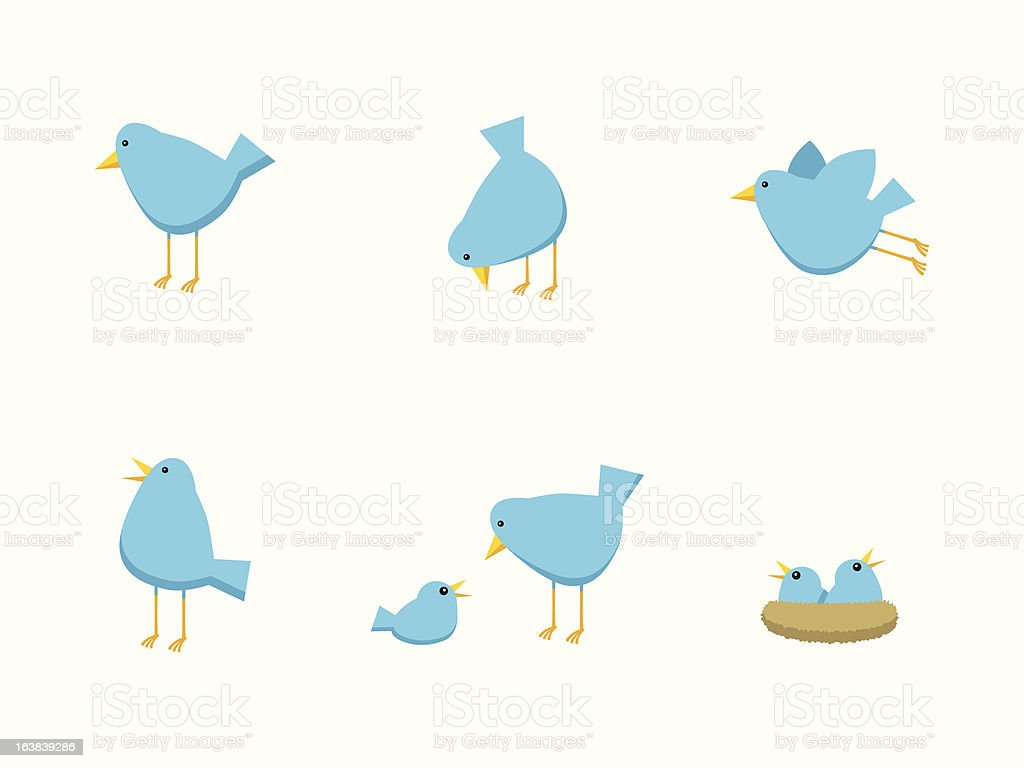 Bird Family Icons vector art illustration