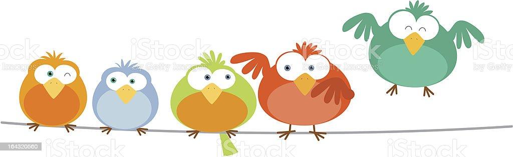 Bird Family vector art illustration