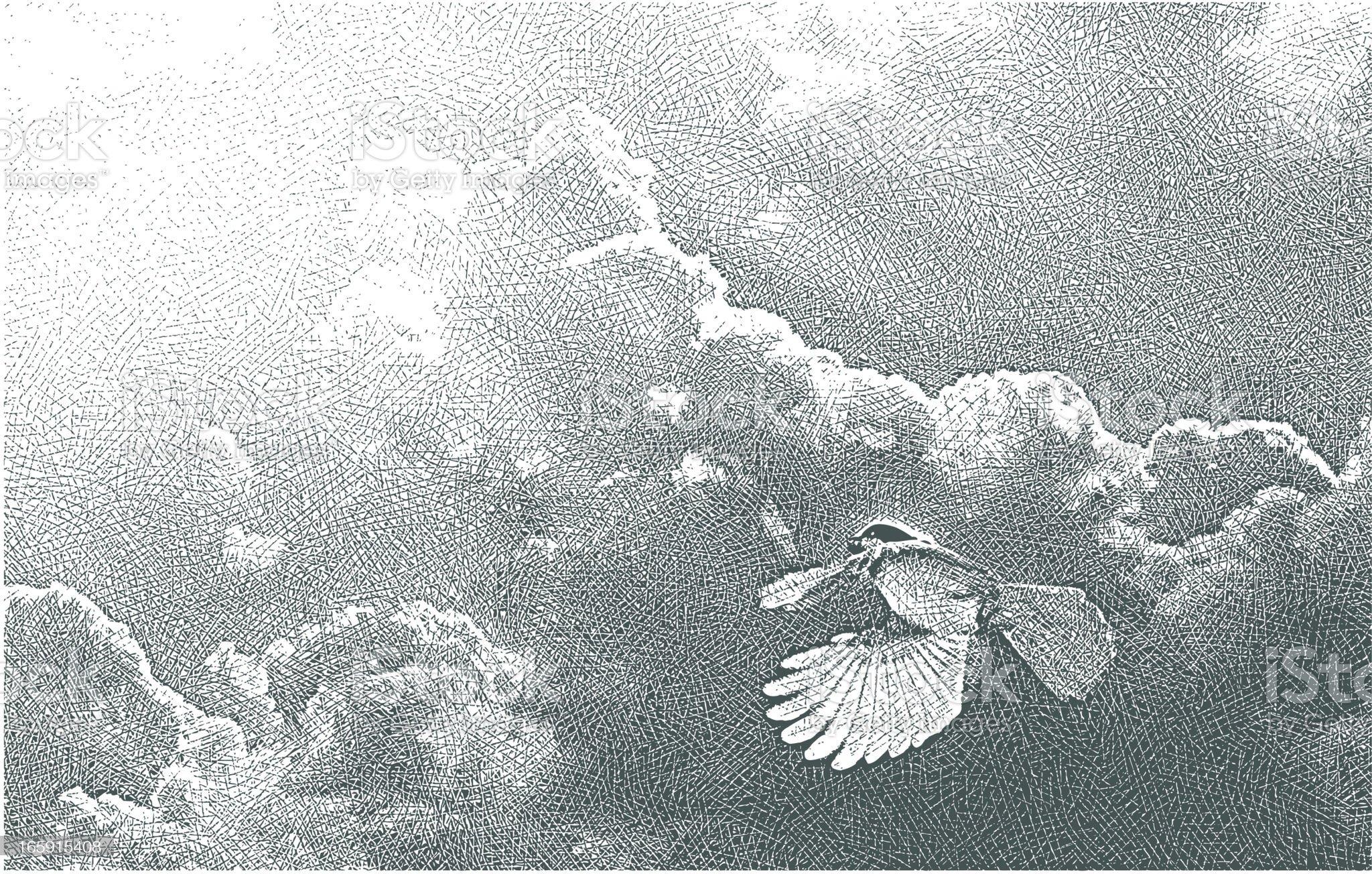 Bird Flying Into The Light royalty-free stock vector art