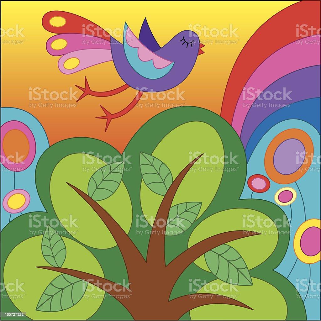 Bird flying over a tree royalty-free stock vector art