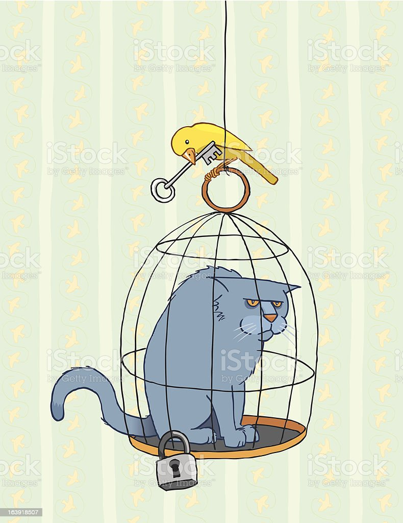 Bird has Outsmarted the Cat vector art illustration