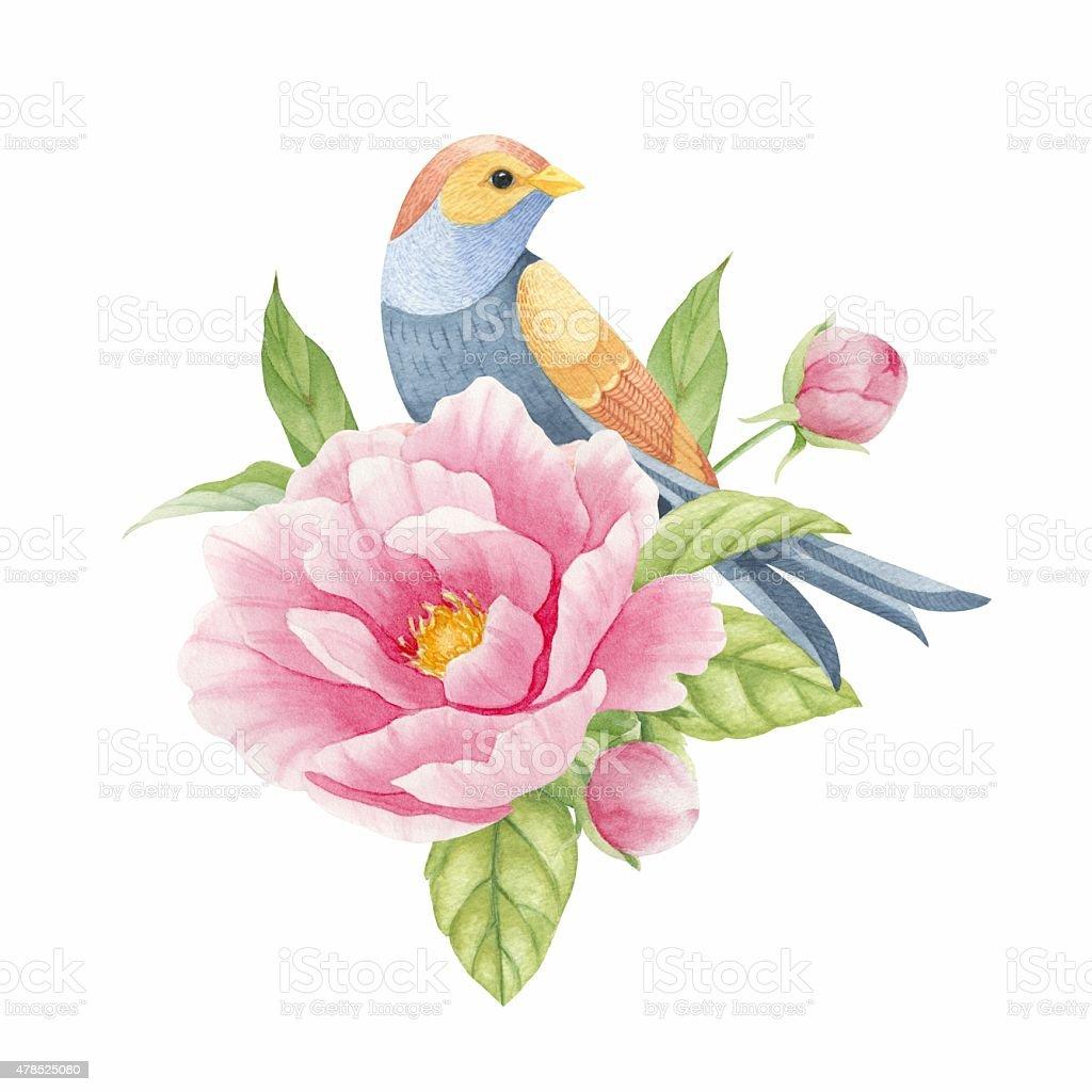 Ptak na kwiat stockowa ilustracja wektorowa royalty-free
