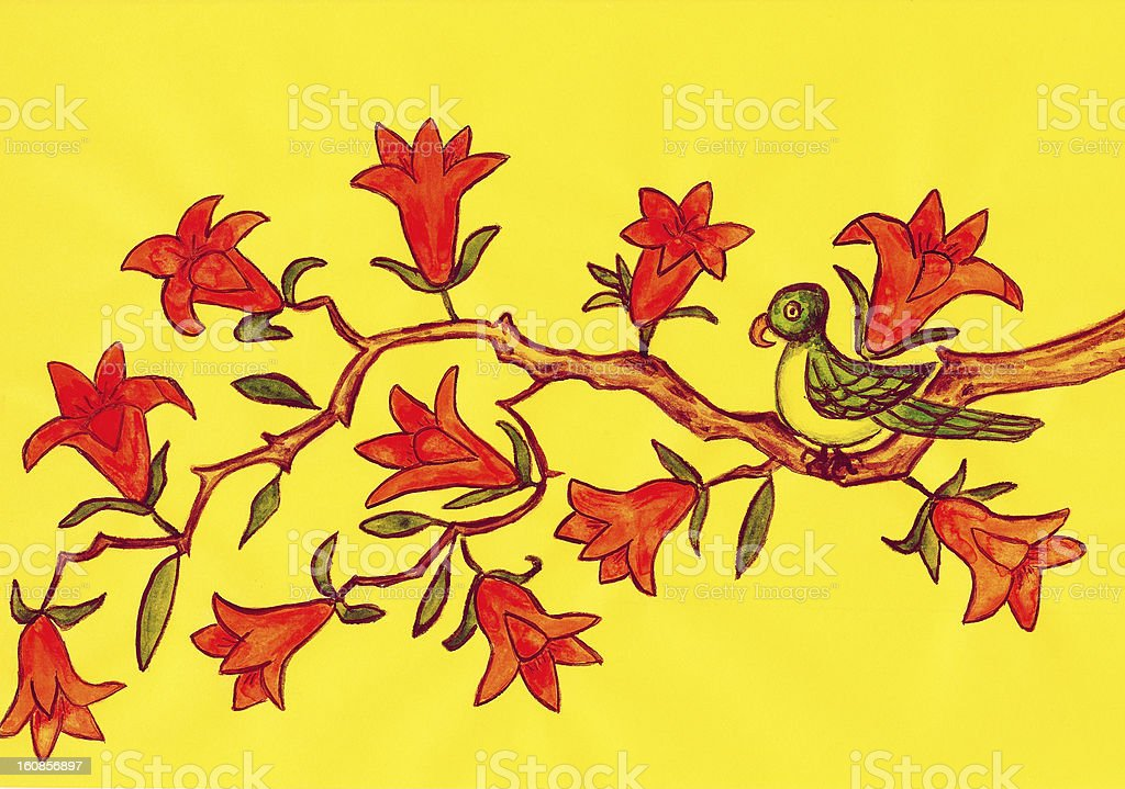 Bird on branch with orange flowers, painting royalty-free stock vector art