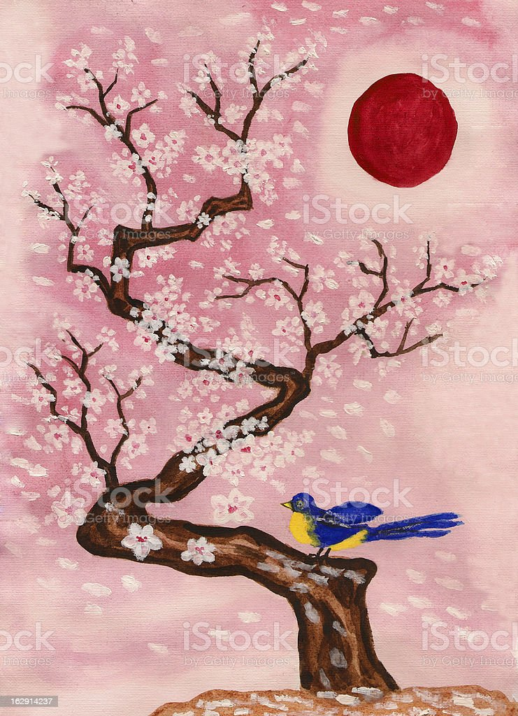 Bird on branch with white flowers, painting royalty-free stock vector art