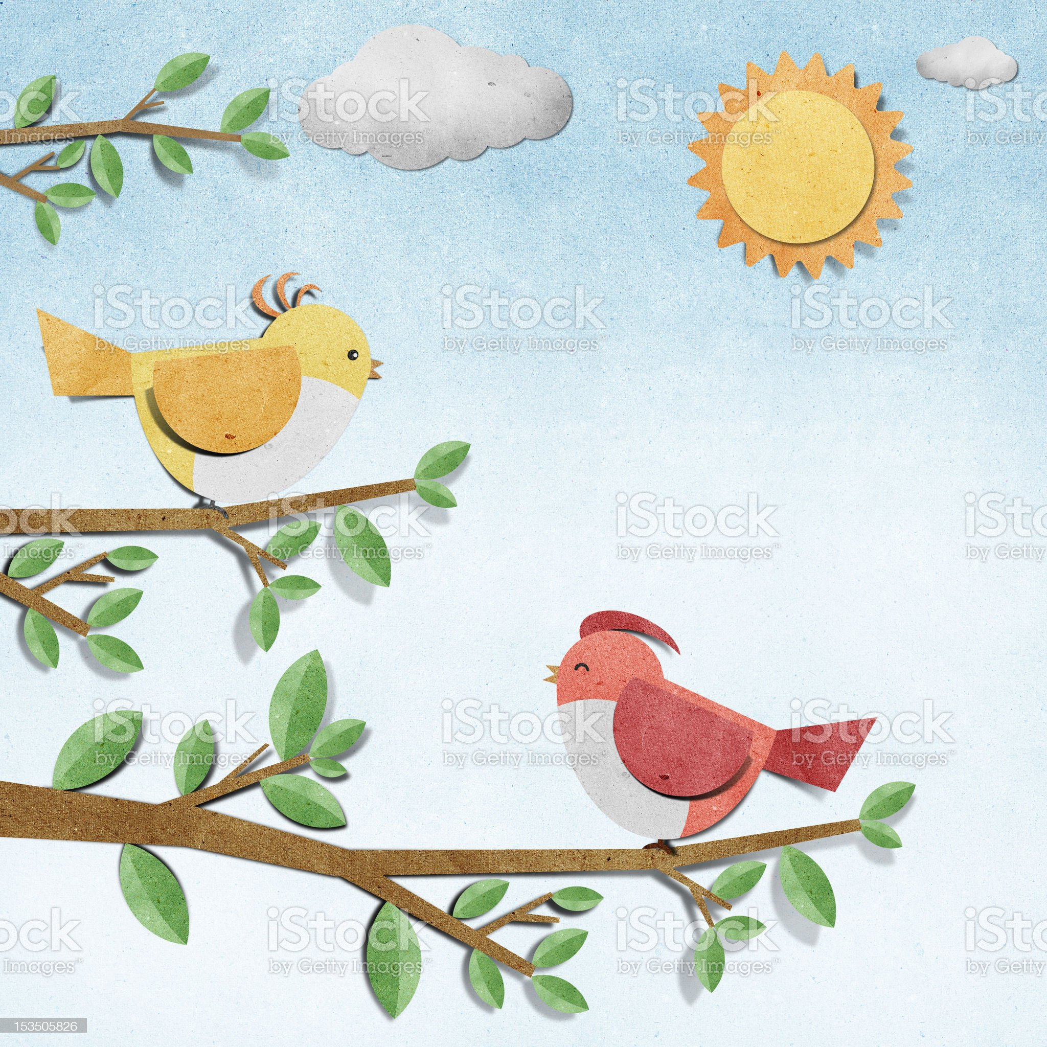 bird recycled paper craft royalty-free stock vector art