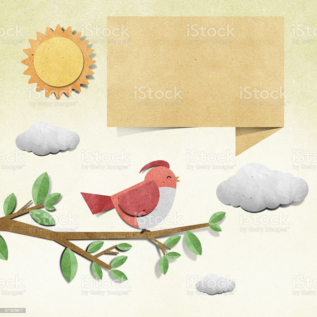 bird recycled papercraft stick on grunge paper background royalty-free stock vector art