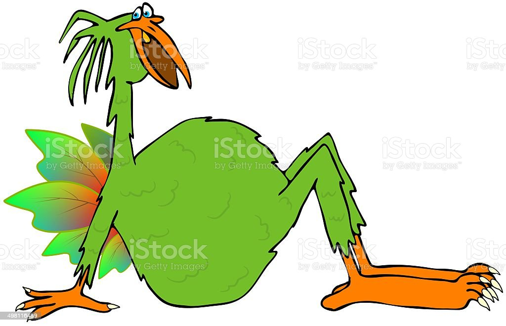 Bird with arms vector art illustration