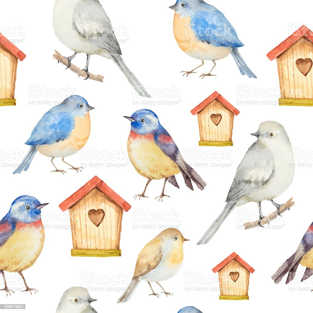 Birds and birdhouses watercolor seamless pattern. vector art illustration