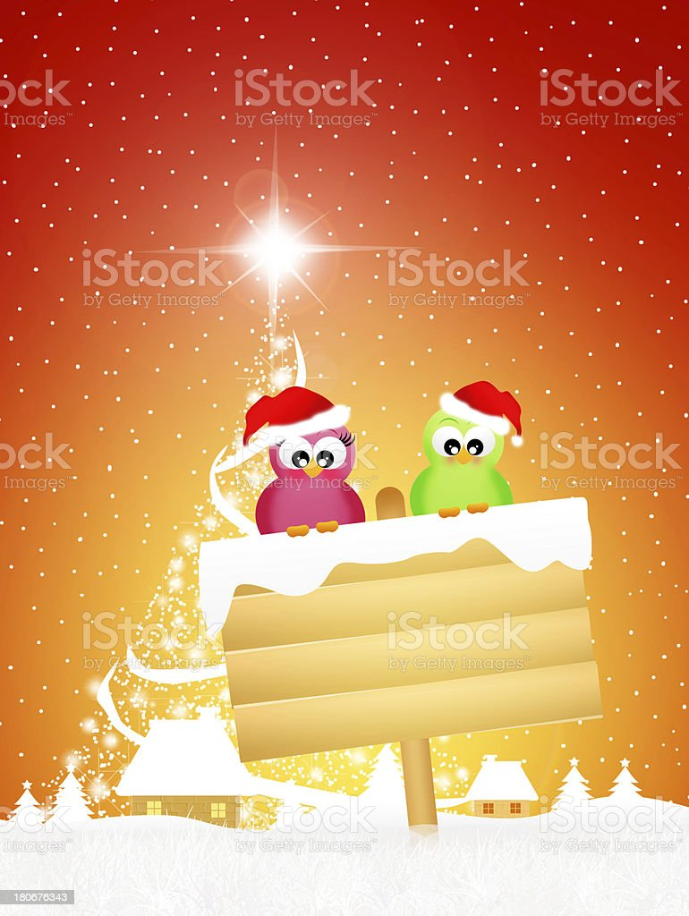 Birds at Christmas royalty-free stock vector art
