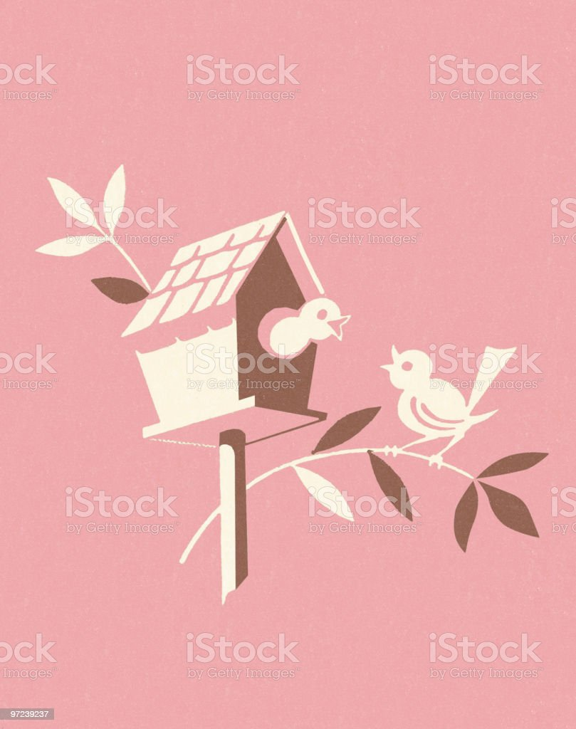 Birds on Branch with Birdhouse vector art illustration