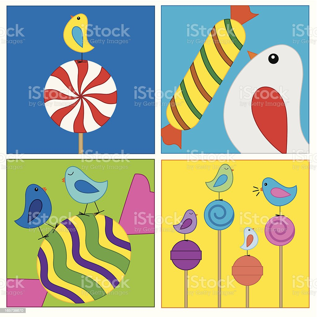 Birds with candies royalty-free stock vector art