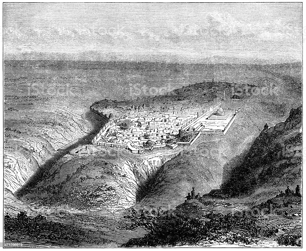Bird's-eye view of Old Jerusalem from the South-East vector art illustration