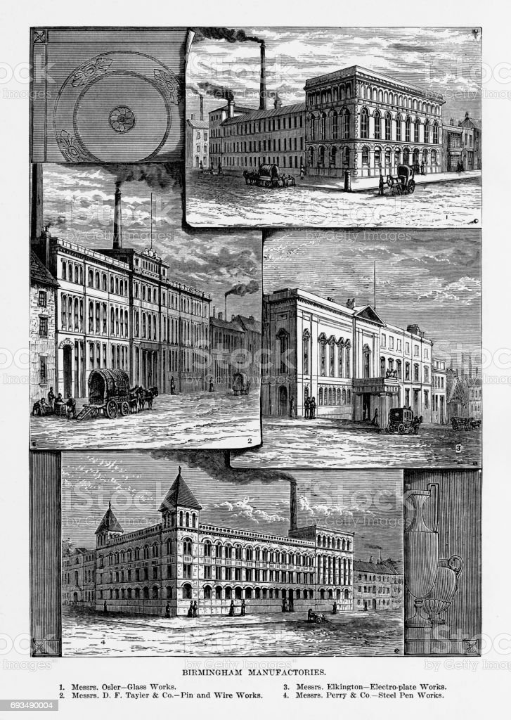 Birmingham Manufactories, Birmingham, Midlands, England Victorian Engraving, 1840 vector art illustration
