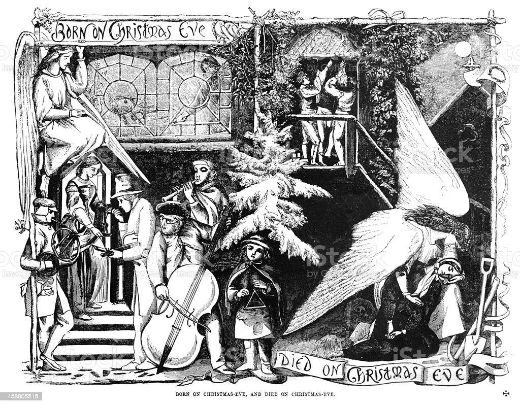 'Birth and Death on Christmas Eve' newspaper cartoon. vector art illustration