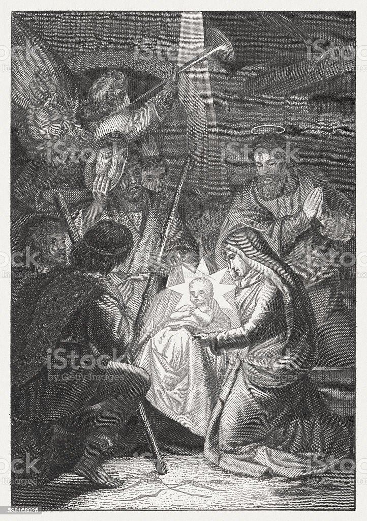 Birth of Christ - visit of the shepherds, published 1883 vector art illustration