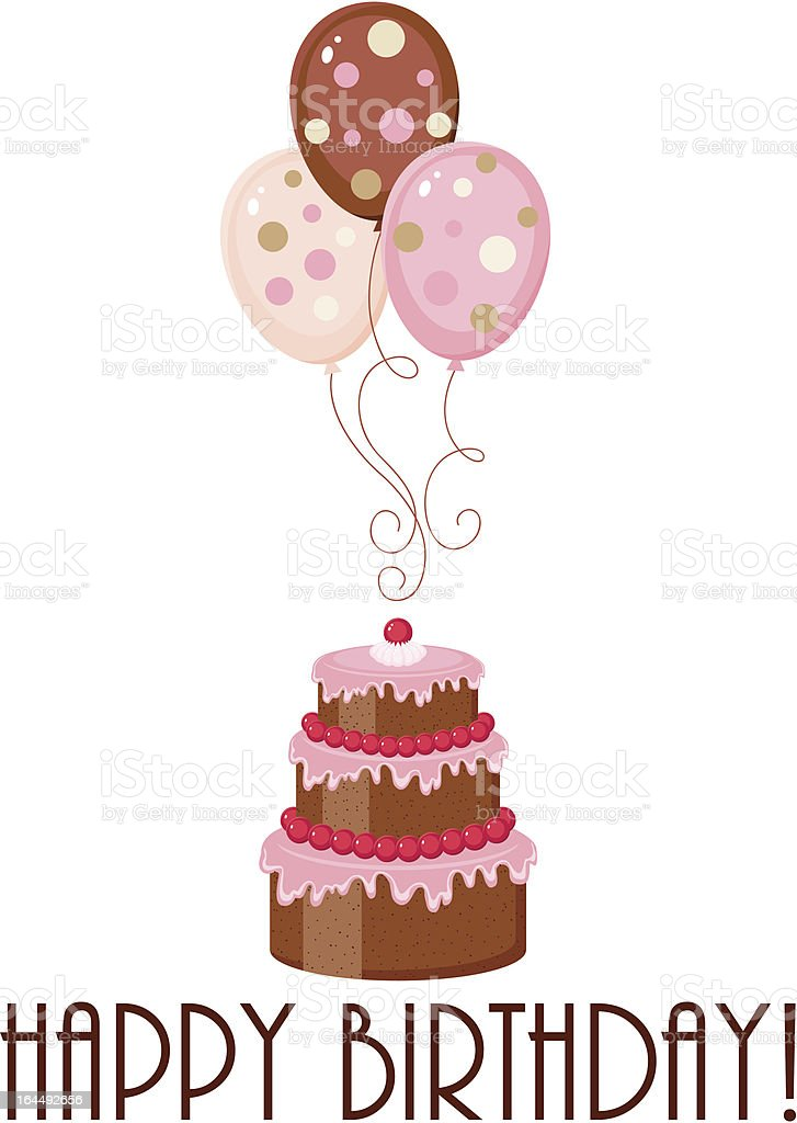 Birthday cake and balloons with text royalty-free stock vector art