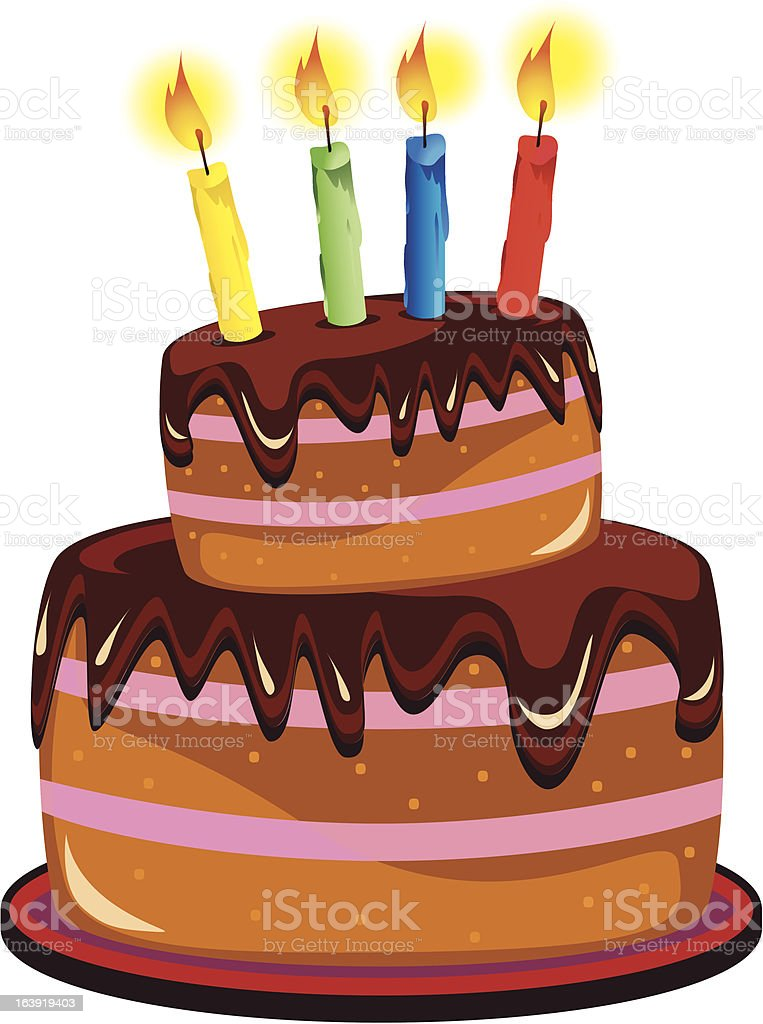 Birthday cake with burning candles. royalty-free stock vector art