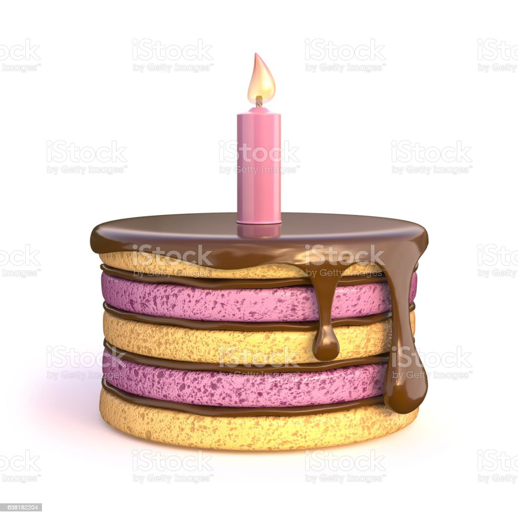 Birthday cake with one candle. 3D vector art illustration