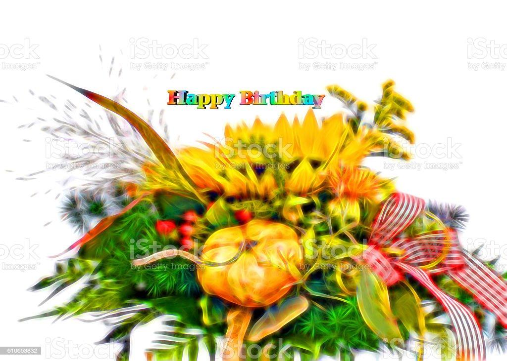 Birthday card graphics with autumn vector art illustration