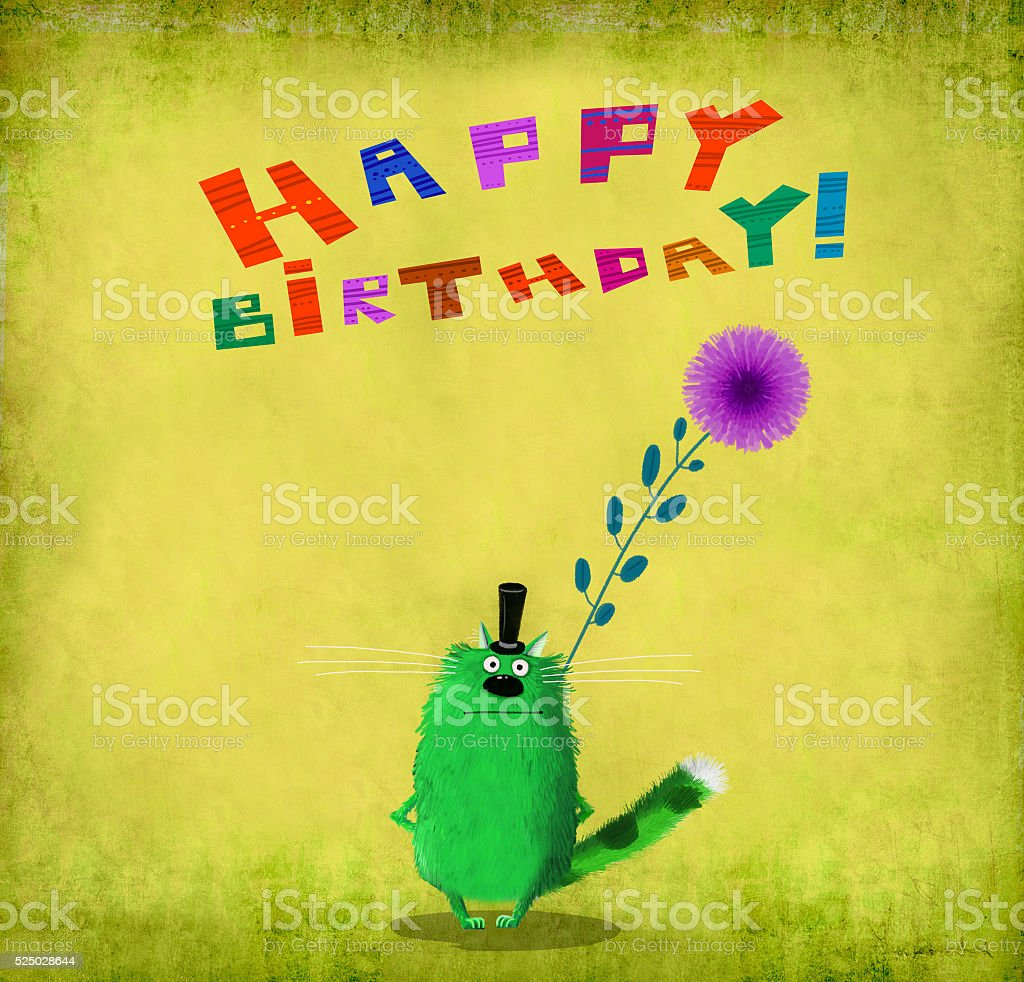 Birthday Card Green Cat With Top Hat Holding Aster vector art illustration