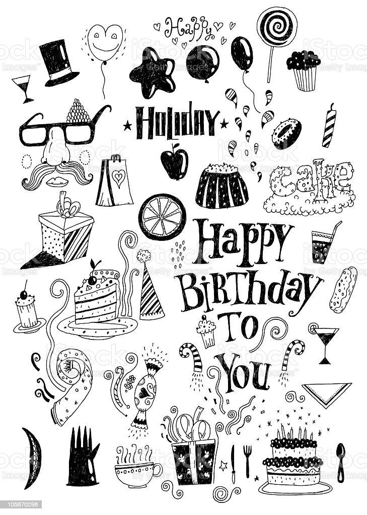 Birthday doodle vector art illustration