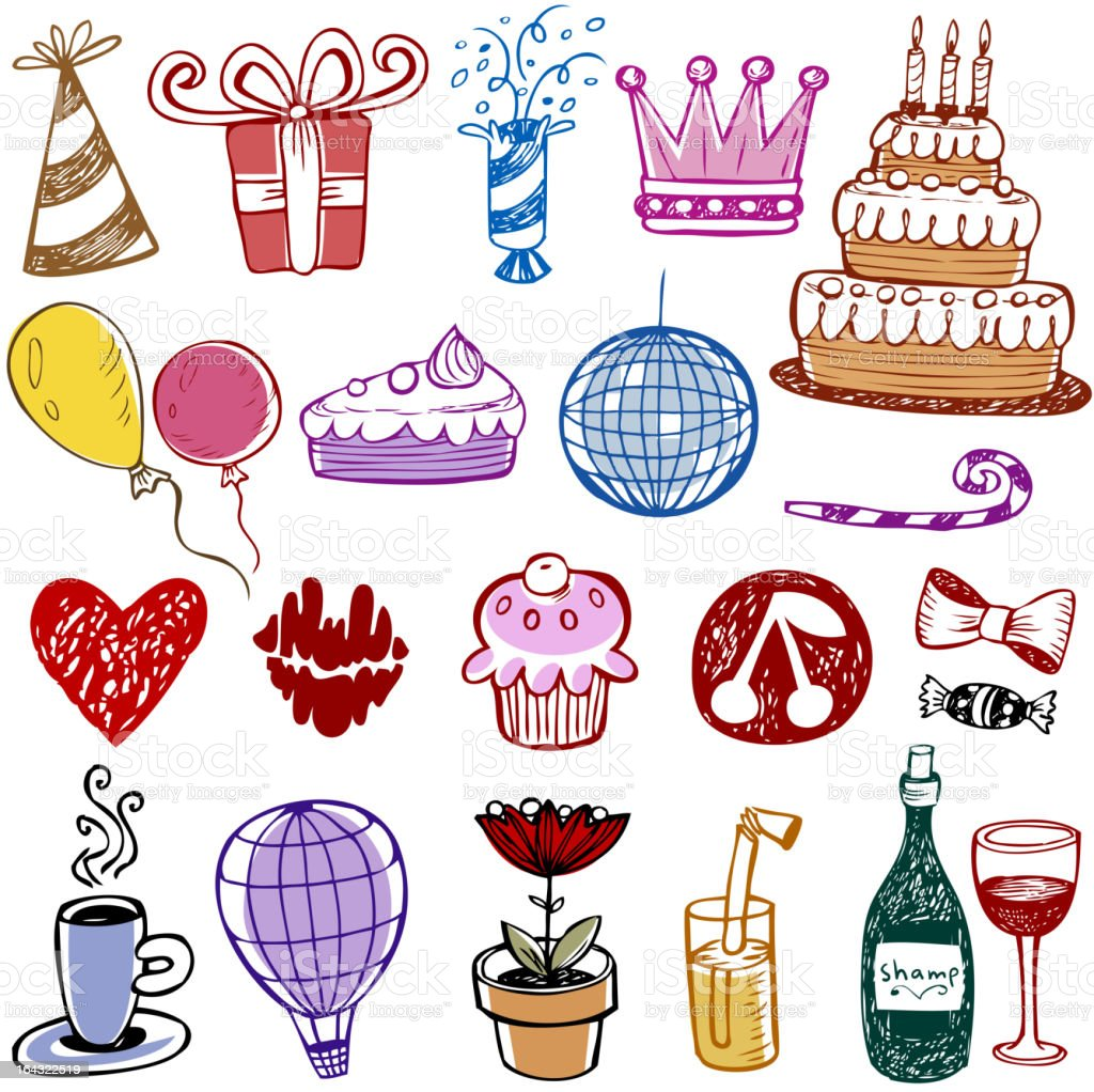 Birthday doodles royalty-free stock vector art