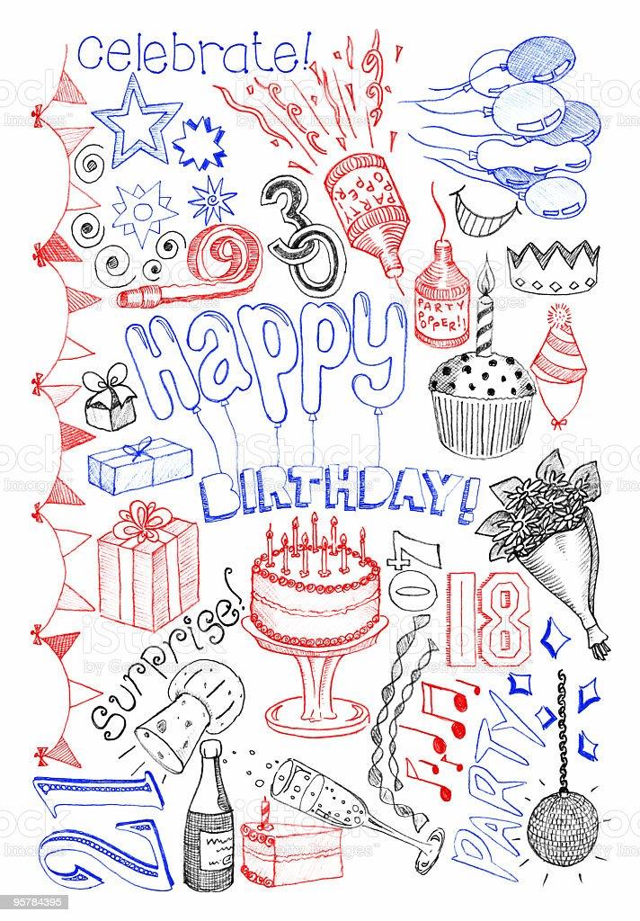 Birthday doodles vector art illustration