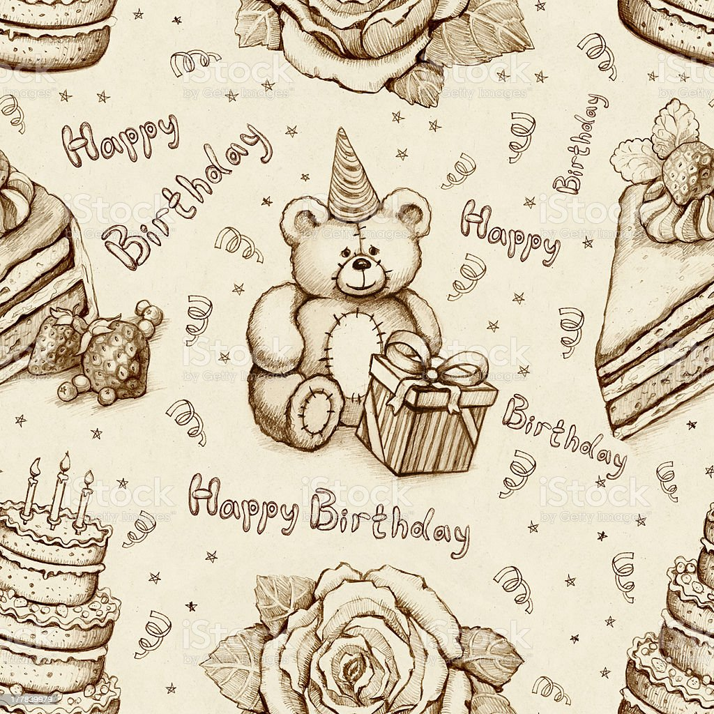 Birthday illustrations. Seamless pattern royalty-free stock vector art