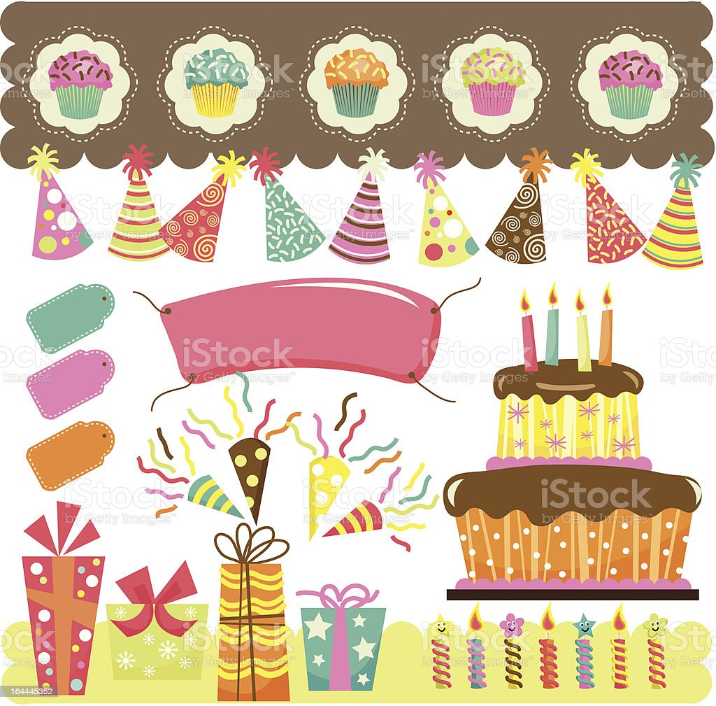 Birthday Party Elements royalty-free stock vector art
